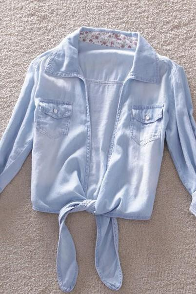 Light Blue Denim Blouse