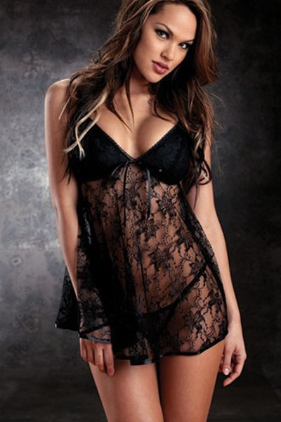 * Free Shipping * Hot Sexy Lingerie Satin Lace Hot Sleepwear G-String Thong Sexy Night Dress Plus Size Sexy Underwear