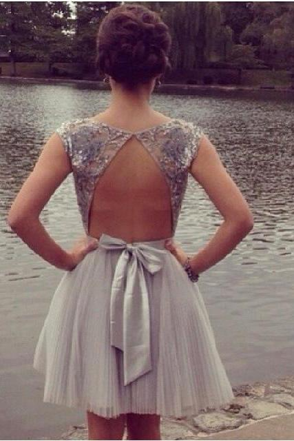 Custom Made Short Backless Gray Prom Dresses, Graduation Dresses, Formal Dresses