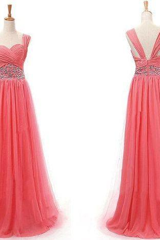 Pretty Watermelon Straps Chiffon Prom Dress 2015, Prom Dresses 2015, Formal Dresses, Evening Dresses