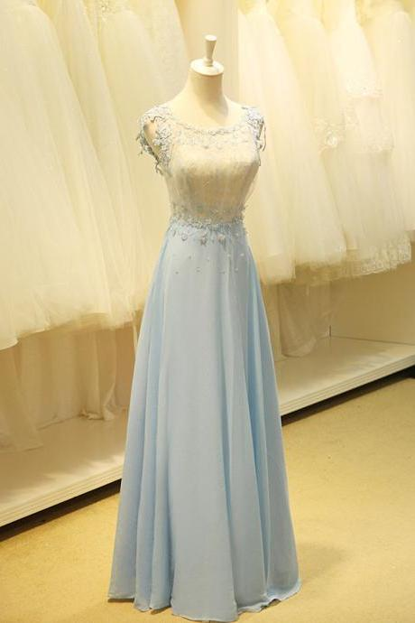 Pretty Light Blue Long Prom Dress with Applique, Sexy Prom Dresses, Prom Dresses 2015, Formal Gown,Simple Prom Dresses 2015
