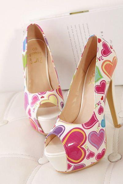 Club Wear Color Block Super High Peep-Toe Thin Heels