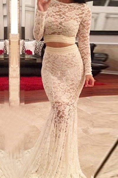 Cheap Sexy O Neck Long Sleeves White Lace Two-Piece Mermaid Floor Length Skirt Set