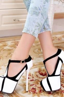 Fashion Round Closed Toe Stiletto High Heel T Strap White Pumps