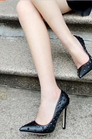 Fashion Pointed Toe Closed Stiletto High Heel Basic Black PU Pumps