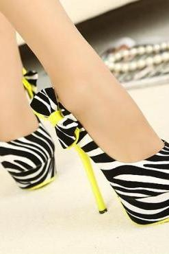 Women's Zebra Print Stiletto High Heel Pumps Adorned with Ribbon