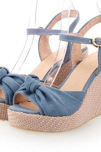 Cute Bow Knot Design Peep Toe Wedge Sandals