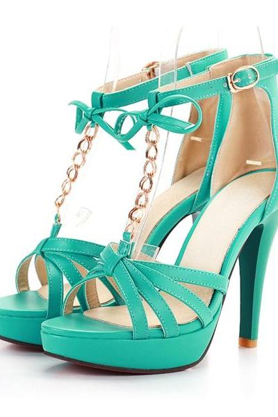 Gold Metal Chain And Bow Design High Heel Fashion Sandals In 4 Colors