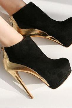 Sexy Black And Gold High Heel Booties