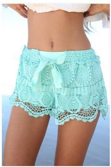 Fashion Lace Shorts Geometric High Waist Bow