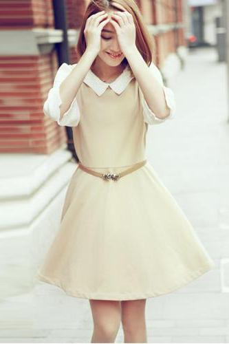 Sexy Beige O-Neck Patchwork Knee-Length Long Sleeve A-Line Dress