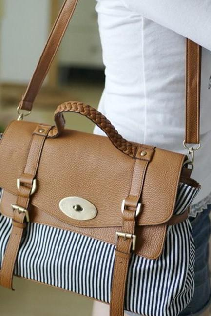 Vertical Striped Leather Women Messenger Bag