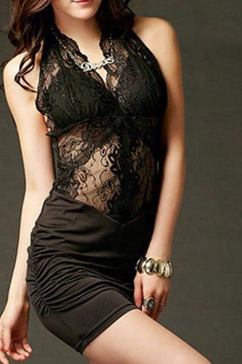 Charming Black Open Back Halter Dress For Club