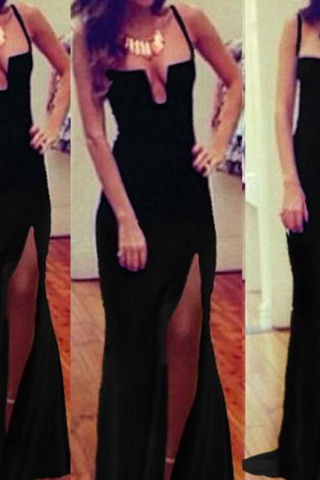 Sexy V Neck Spaghetti Strap Sleeveless Waist Black Floor Length Dress