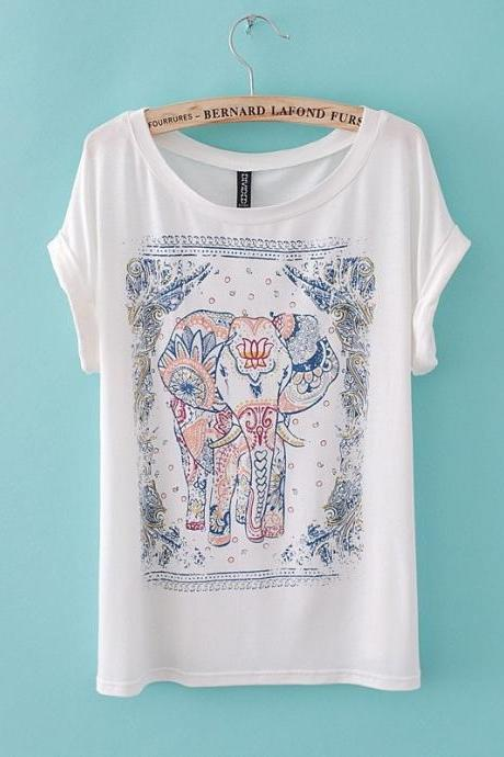 Europe United States New Fashion Summer 2014 Elephant Print Short Style Short Sleeve Women's T-Shirt Tee Cotton Blouse In Stock