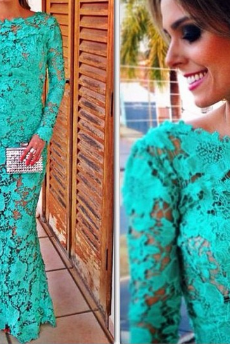 Sexy Slim Round Neck Long-Sleeved Lace Dress