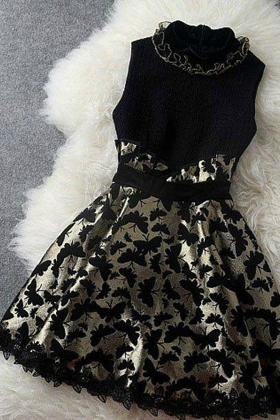 Stylish Butterfly Design Sleeveless Lace Dress