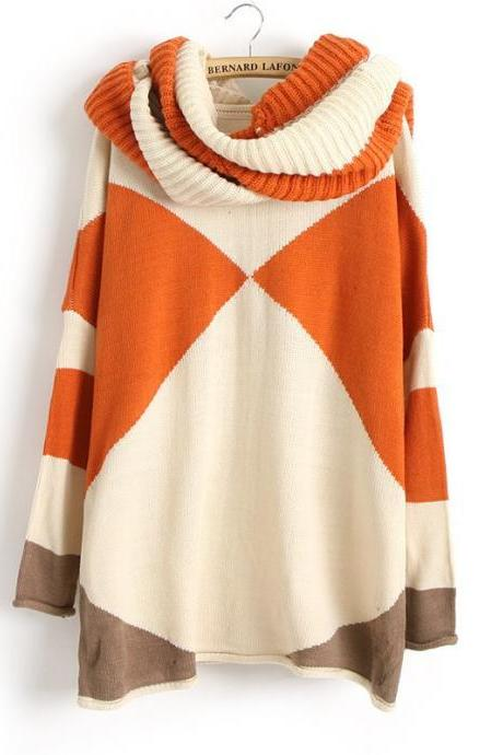 Hit Color Bat Sleeve Sweater