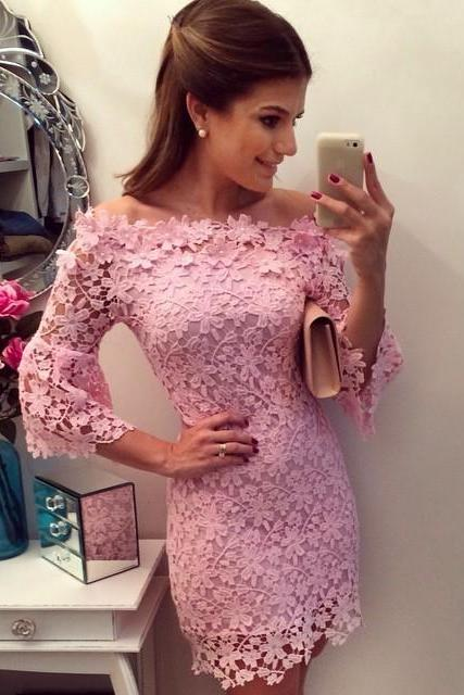 Pink Floral Off The Shoulder Evening Party Dress Bell Sleeve Lace Mini Dress SD080