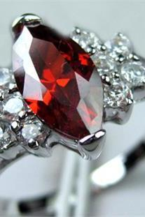 Ruby Austrian Crystal Ring 10K White Gold Filled Ring Size 8