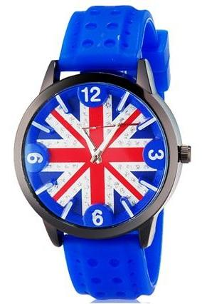 UK Flag Print Unisex Analog Sports Watch with Rubber Strap (Blue) M.