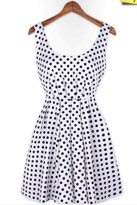 Sexy Three Color Dot Backless Bowknot Dress