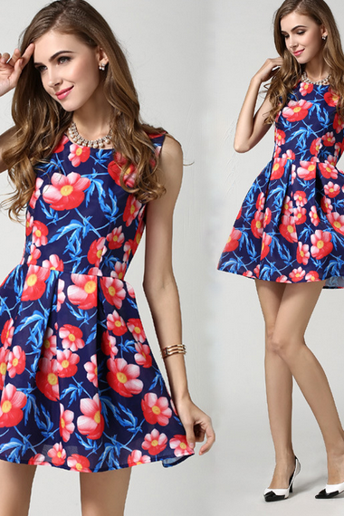 2015 summer new printing sleeveless dress