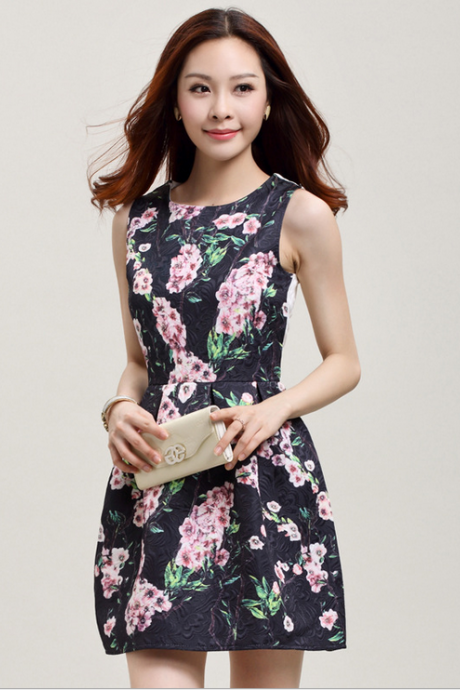 2015 black flower sleeveless vest skirt small sweet wind sleeveless dresses