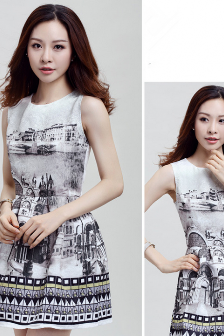 2015 Europe and the United States to restore ancient ways show thin printed sleeveless vest dress dress