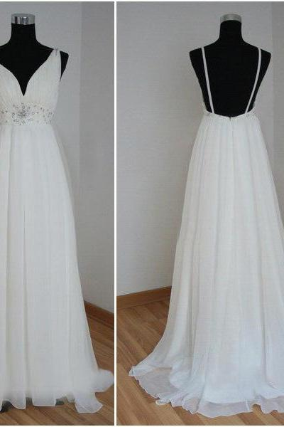 Empire waist open back beach wedding dress 2015,v neck off the shoulder backless wedding dresses,custom made wedding gown,maternity bridal wedding dress,beadings bridal gowns white prom dress