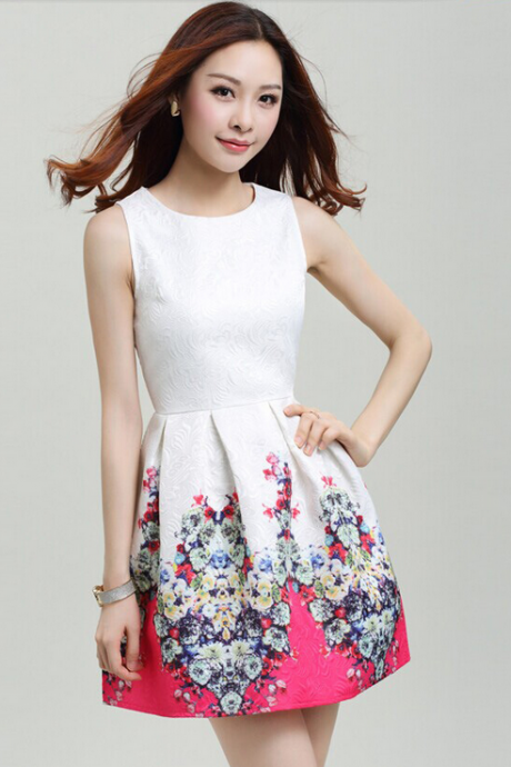 2015 round collar, backing printed sleeveless vest dress