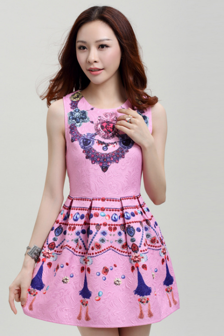 2015 the European and American fashion sleeveless vest skirt Print dress