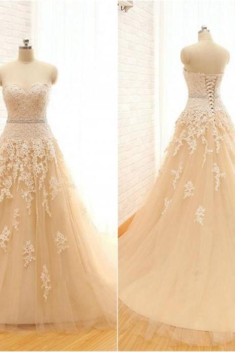 Champagne Floor Length Lace Tulle A-Line Wedding Gown Featuring Sweetheart Bodice