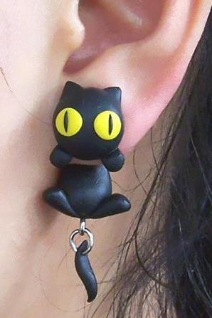 Personalized Black Cat Earrings