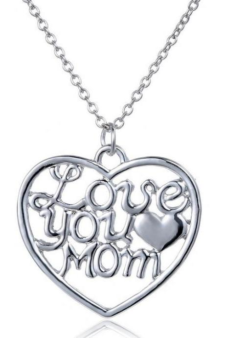Fashion Hollow love you mom Love Heart Pendant Necklace for 2015 Mother's Day Gift