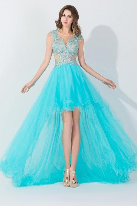 high low prom dresses, tiffany blue prom dresses, tulle prom dresses, 2015 prom dresses, affordable prom dresses, dresses for prom, CM154