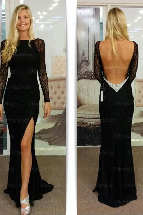 long sleeve lace prom dresses, mermaid prom dresses, 2015 prom dresses, black prom dresses, dresses for prom, CM157