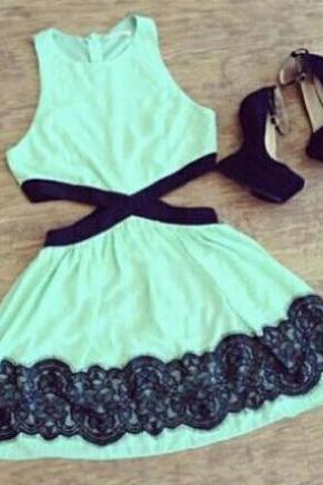Fashion Green Lace Sleeveless Dress VC33023MN