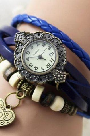 heart watch, heart leather watch, blue bracelet watch, leather watch, bracelet watch, vintage watch, retro watch, woman watch, lady watch, girl watch, unisex watch, AP0002