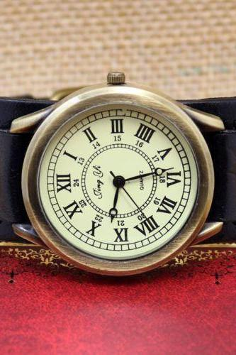 black watch, black leather watch, leather watch, bracelet watch, vintage watch, retro watch, woman watch, lady watch, girl watch, unisex watch, man watch, AP0006