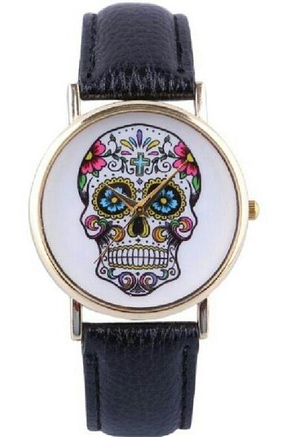skull watch, skull leather watch, black watch, leather watch, bracelet watch, vintage watch, retro watch, woman watch, lady watch, girl watch, unisex watch, AP0008