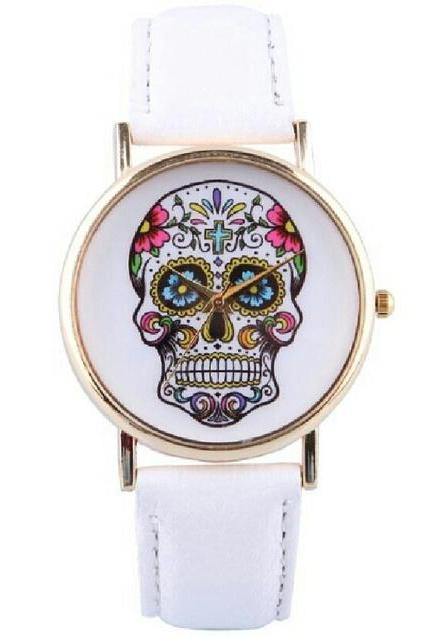 skull watch, skull leather watch, white watch, leather watch, bracelet watch, vintage watch, retro watch, woman watch, lady watch, girl watch, unisex watch, AP0008