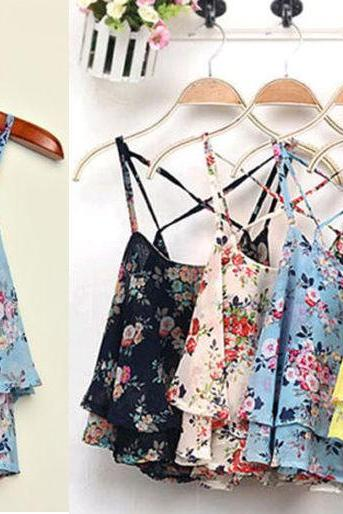 Summer Women Sexy Floral Flower Print Sleeveless Chiffon Tank Tops Vest 4 Colors