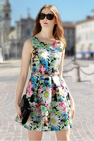 2015 Spring New Printing Sleeveless A-Line Dress--Green