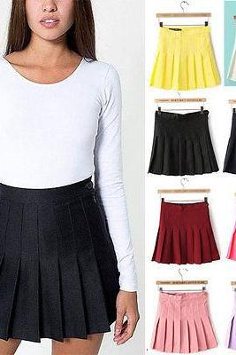Sexy Women's Trends Slim Thin High Waist Playful Pleated Tennis Skirt Mini Dress