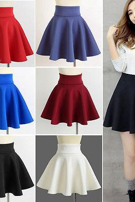 High Waist Skater Mini Skirt Jersey Plain Flared Pleated A-Line Short Sexy S M L