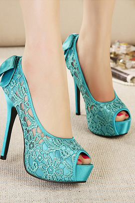 Sweet Candy Colors Sexy Stiletto High-Heeled Sandals Fish Head Bow Shoes--Green