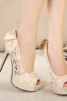 Sweet Candy Colors Sexy Stiletto High-Heeled Sandals Fish Head Bow Shoes--Beige