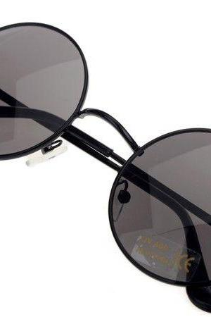 Fashion round black lenses girl sunglasses