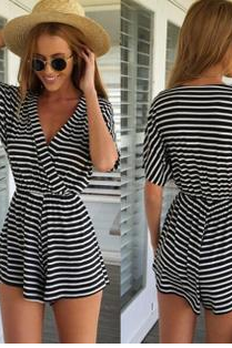 The spring of 2015 the new stripe knitting jumpsuits women's sexy dress 333
